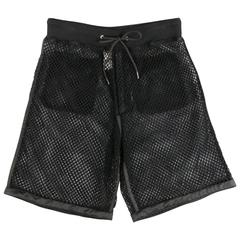 Men's MOSCHINO COUTURE Size 30 Black Fishnet Mesh Drawstring Shorts