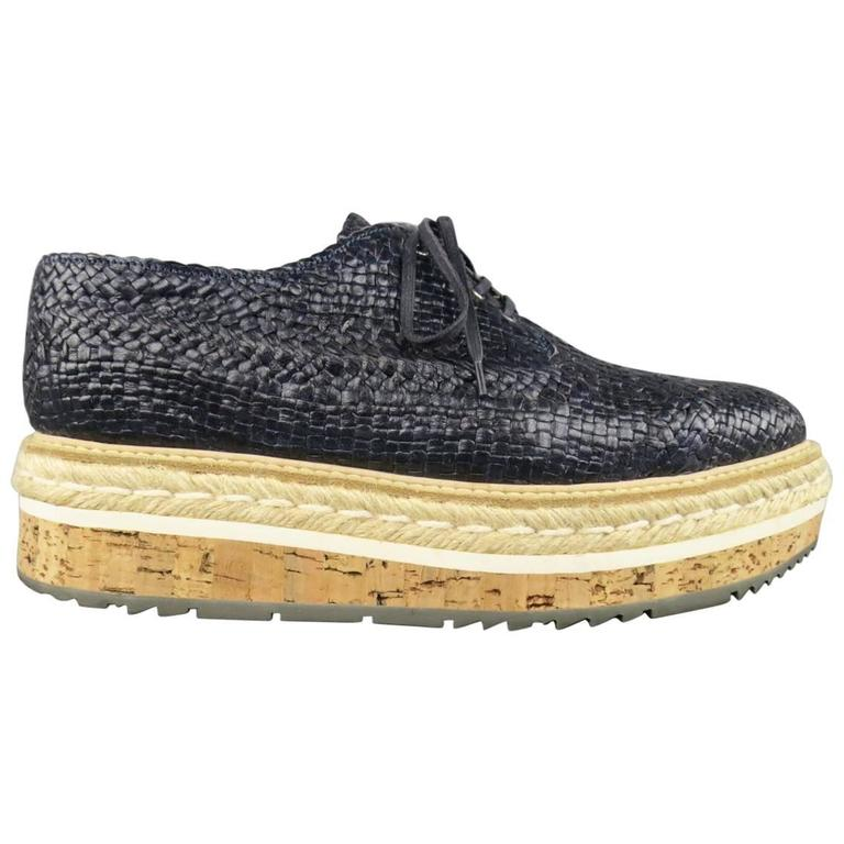 Prada Navy Woven Leather Cork Platform Dress Shoes For Sale
