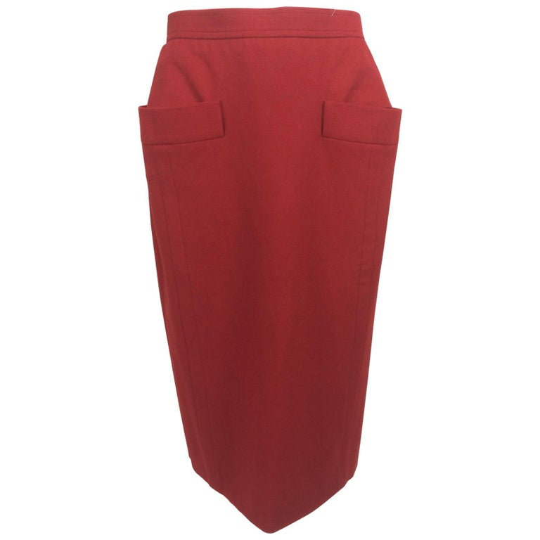 Vintage Yves Saint Laurent brick red wool skirt with hip front pockets 1980s