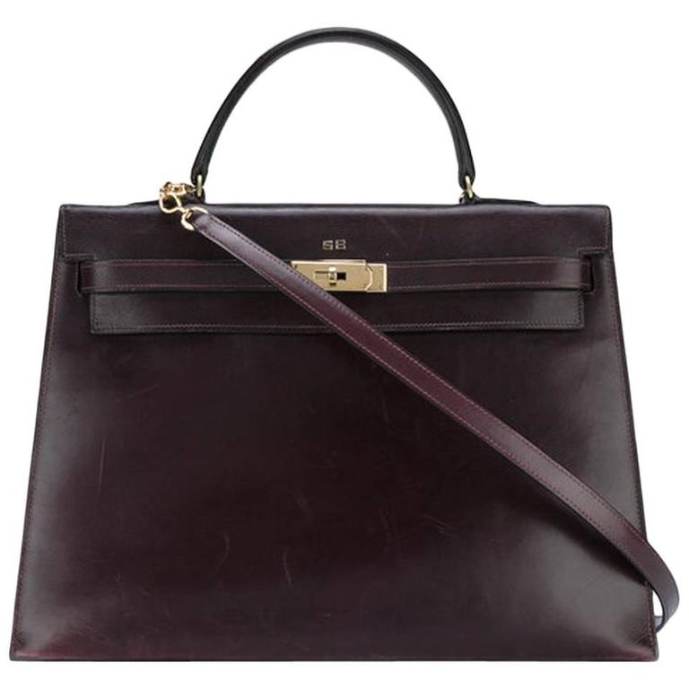 Hermes Cherry Box Calf Kelly 35cm Tote Bag For Sale