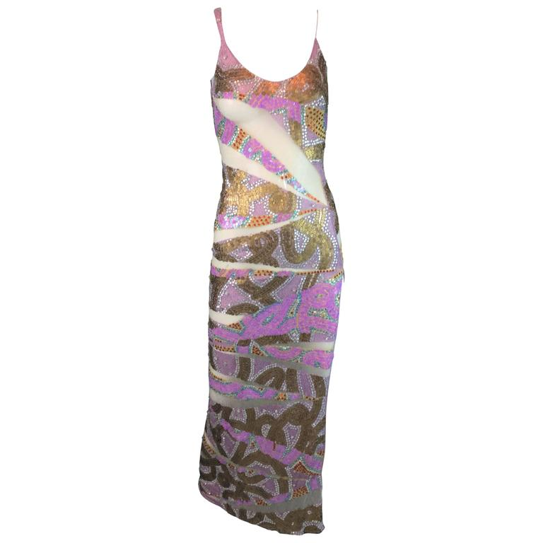 S/S 2001 Julien MacDonald Runway Sheer Mesh Beaded Sequin Gown Dress For Sale