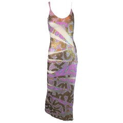 S/S 2001 Julien MacDonald Runway Sheer Mesh Beaded Sequin Gown Dress