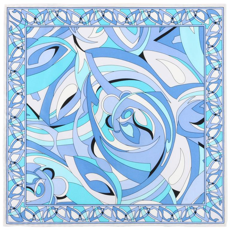 EMILIO PUCCI White Blue Abstract Print Silk Scarf