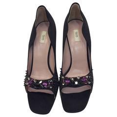 Prada Black Satin Curvy Heels with Jeweled Toe