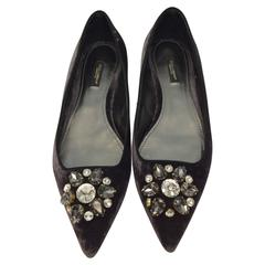 Dolce & Gabbana Grey Velvet Flats with Jeweled Toe