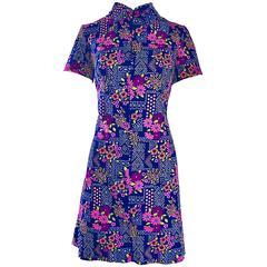 Chic 1960s Colorful Daisy Flower Print Vintage 60s Mod Mini Shirt Shift Dress