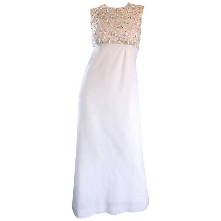 1960s Jack Bryan Ivory and White Crochet Lace Beaded Vintage Maxi Dress / Gown