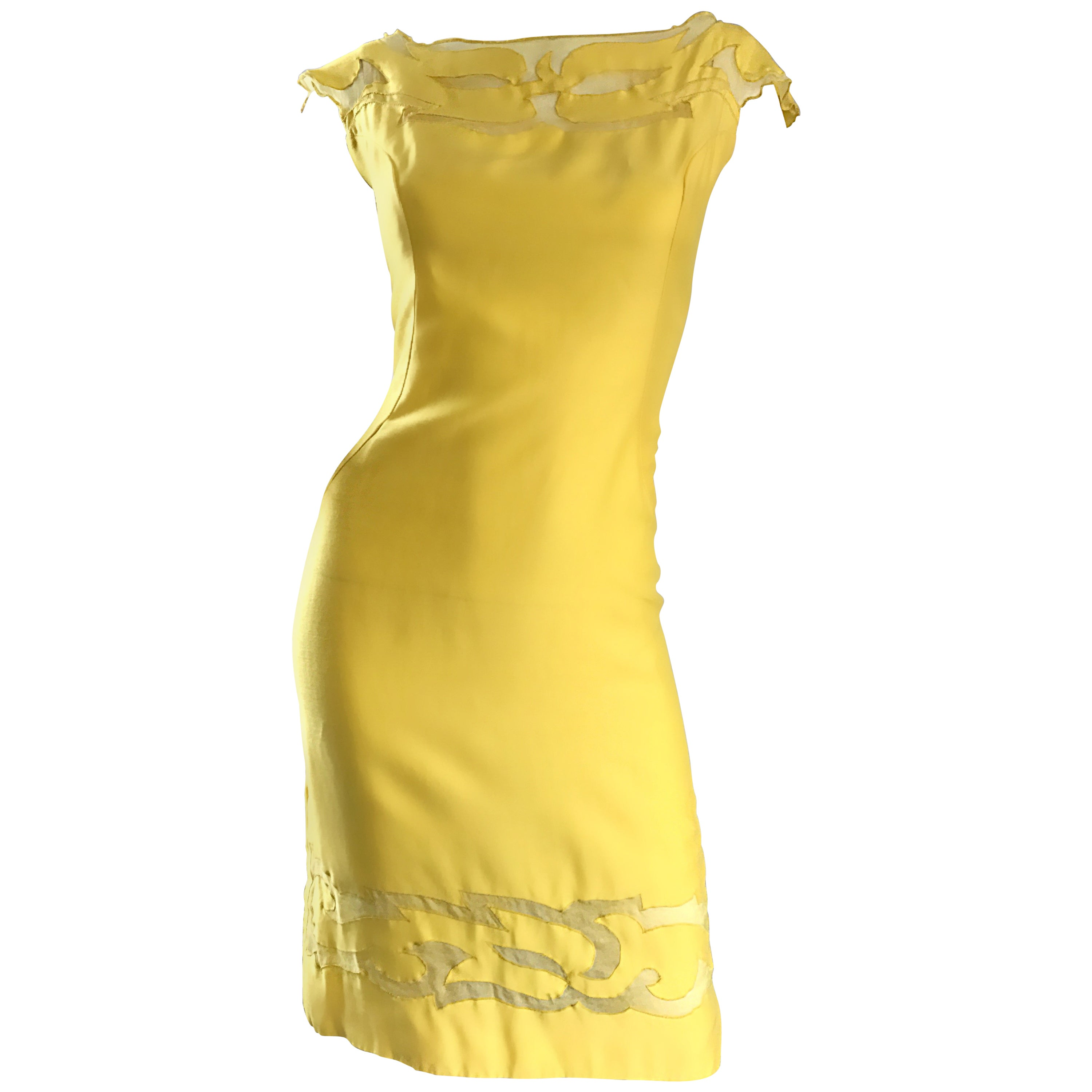 Amazing 1950s Canary Yellow Silk Vintage Cut - Out 50s Bombshell Wiggle Dress