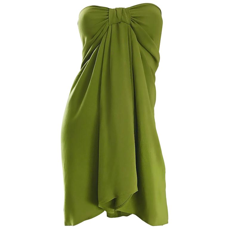 Christian Lacroix 1990s Chartreuse Green Strapless 90s Silk Empire Waist Dress