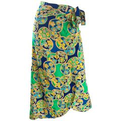 1970s Blue, Yellow and Green Flower and Circle Print Cotton 70s Wrap Midi Skirt