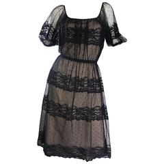 Vintage Jeannene Booher Black + Nude Silk Lace 1970s Short Sleeve Flirty Dress