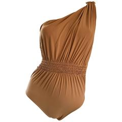 Lanvin 2011 Alber Elbaz Tan Caramel One Shoulder Grecian Bodysuit or Swimsuit
