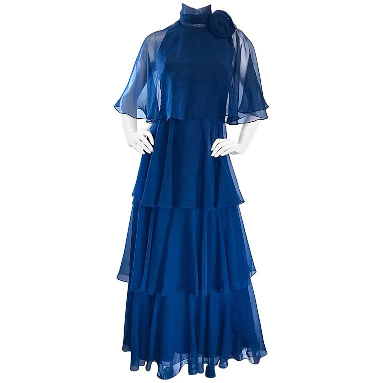 1970s Elliette Lewis Navy Blue Chiffon High Neck Caped Tiered Gown / Maxi Dress 1