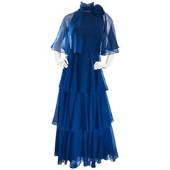 1970s Elliette Lewis Navy Blue Chiffon High Neck Caped Tiered Gown / Maxi Dress