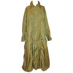Issey Miyake Olive Green Optional Hooded Maxi Detailed Top Stitch Trench Coat