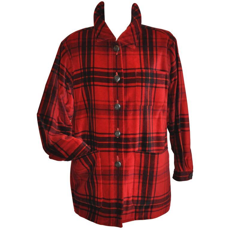 Yves Saint Laurent Deep Red & Black Cotton Velvet Smock Button Jacket