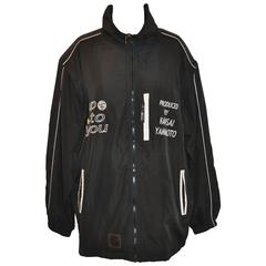 "Kansai Yamamoto Men's Black Nylon Zipper ""Up To You"" Embroidered Jacket"