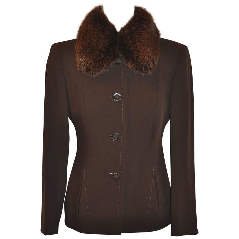 Blumarine Coco Brown Form-Fitting with Fox-Collar Button Jacket