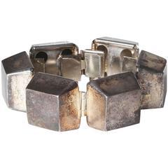 YSL Hallow Metal Cube Bracelet circa 1980s
