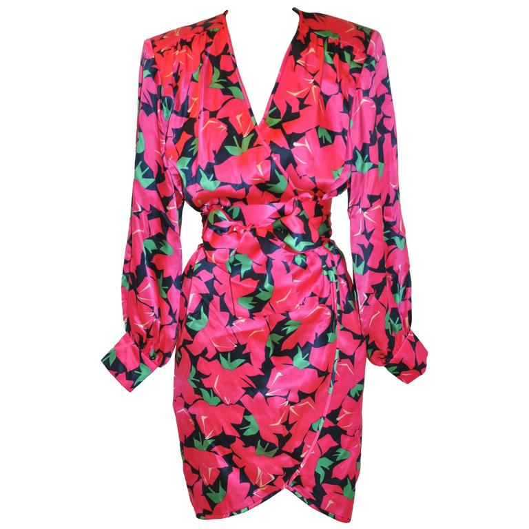 Yves Saint Laurent Bold Fuchsia, Lapis & Green Floral Wrap Dress with Tie 1