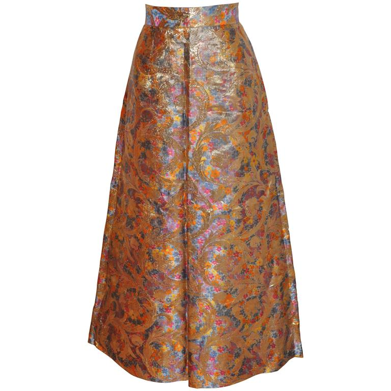 Silk Brocade with Gold Lame Floral Flare Maxi Evening Skirt For Sale