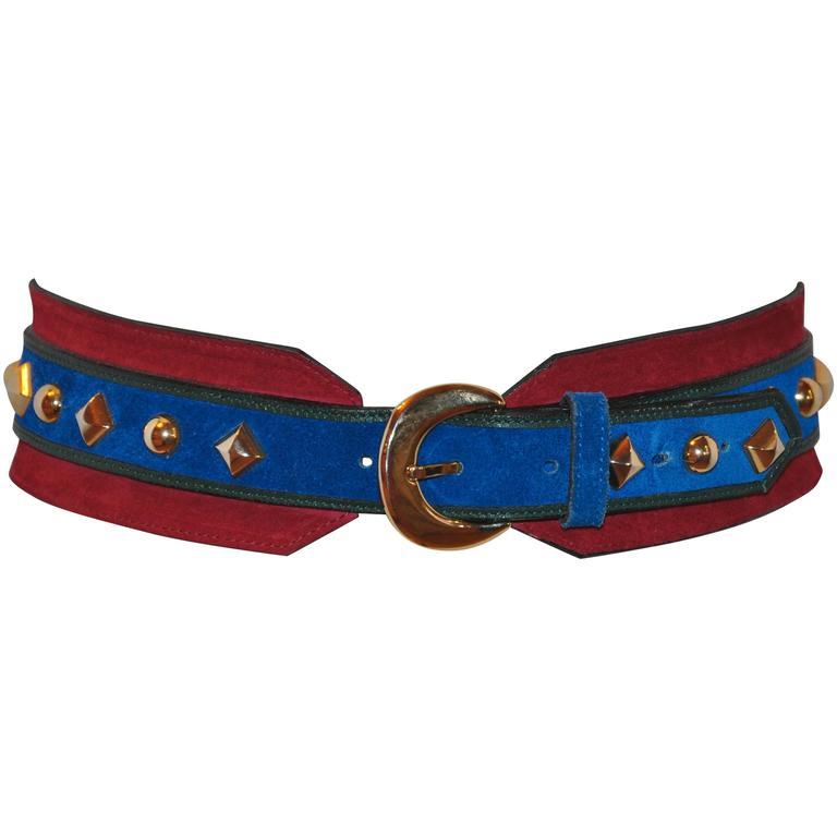Yves Saint Laurent Lapis Blue & Red Suede Multi-Studded Buckle Belt 1