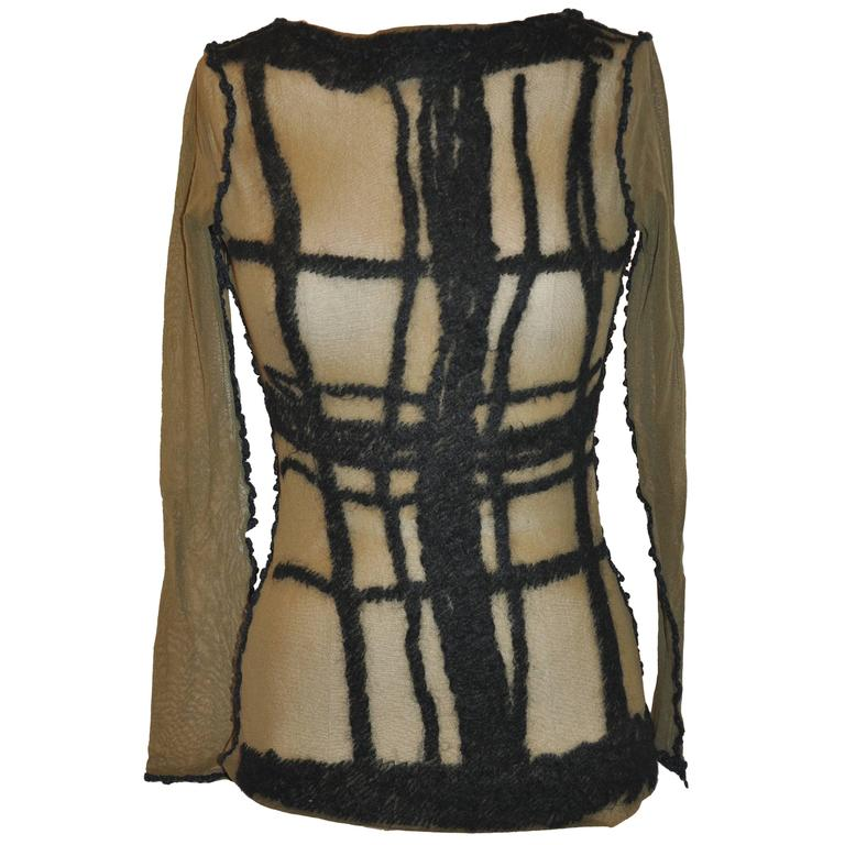 Jean Paul Gaultier Olive Netted Accented Black Embroidered Stretch Pullover For Sale