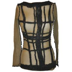Jean Paul Gaultier Olive Netted Accented Black Embroidered Stretch Pullover