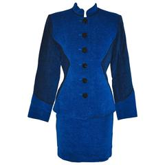 Yves Saint Laurent Lapis Blue & Black Mandarin Collar Skirt & Jacket Ensemble