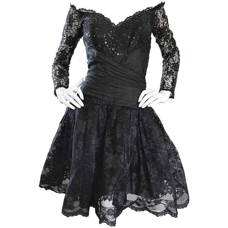 Vintage 90s Tadashi Shoji Black Off  Shoulder Taffeta Sequin Lace Cocktail Dress For Sale