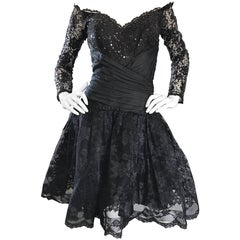 Vintage 80s Tadashi Shoji Black Off  Shoulder Taffeta Sequin Lace Cocktail Dress