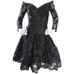 Vintage 90s Tadashi Shoji Black Off  Shoulder Taffeta Sequin Lace Cocktail Dress