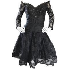 Vintage 90s Tadashi Shoji Black Off  Shoulder Taffeta Sequin Lace Cocktail Dress