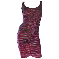 1970s Sexy Pink + Red Metallic Ruched Vintage 70s Studio 54 Disco Dress