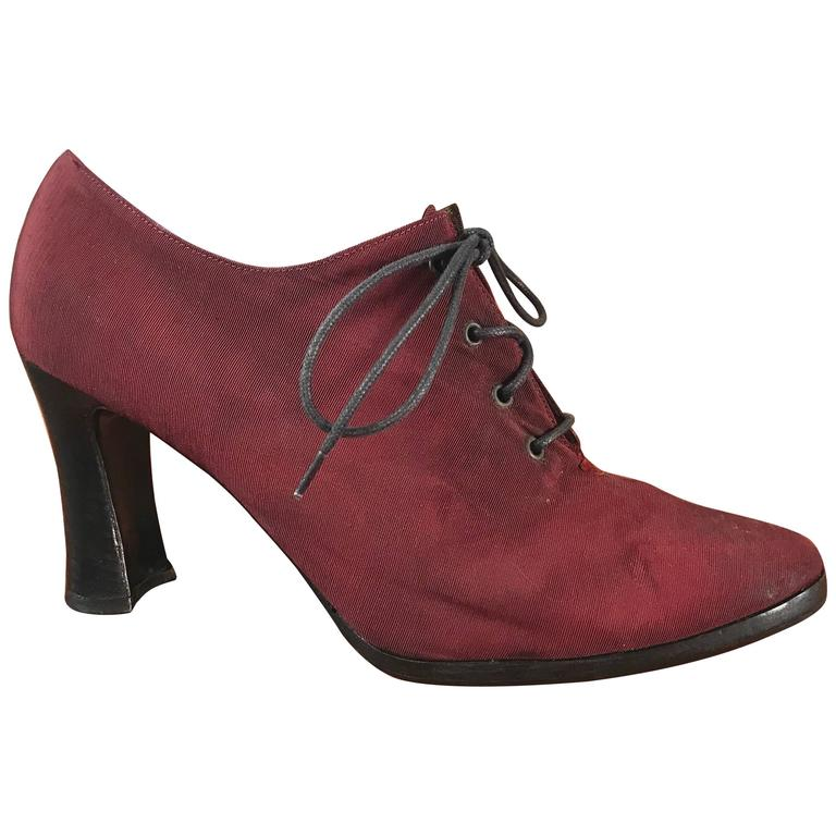 Yves Saint Laurent 1970s Rare Russian Collection Burgundy Size 10 Booties Boots
