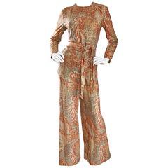 Incredible 3 Piece 1970s Tunic, Pants, & Belt Metallic Paisley Bell Bottom Suit