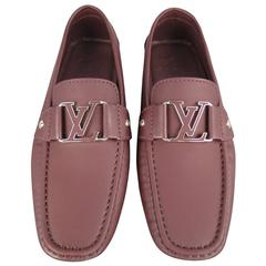 Men's LOUIS VUITTON Size 6 Prune Brown Ruberized Leather Monte Carlo Loafers