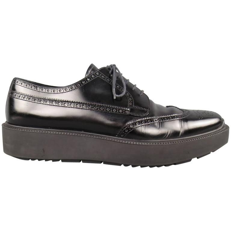 Men's PRADA Size 12 Black Leather Wingtip Platform Rubber Sole Lace Up