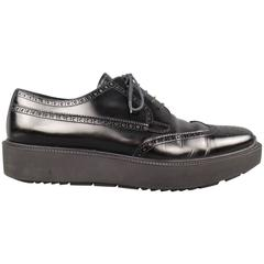 Men's PRADA Size 12 Black Leather Wingtip Platform Rubber Sole Lace Up