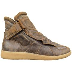 MAISON MARTIN MARGIELA Size 8 Brown Distressed Leather Padded High Top Sneakers