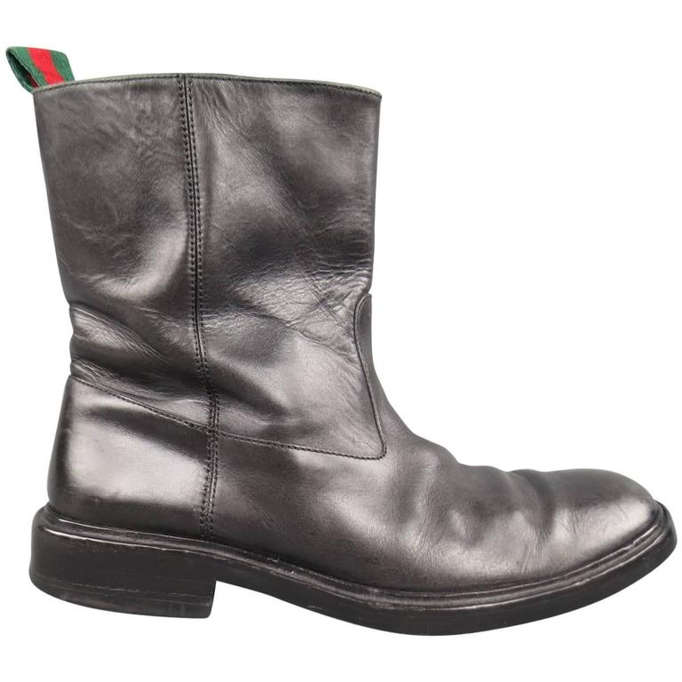 Men's GUCCI Size 11 Black Leather Striped Webbing Tab Biker Boots For Sale