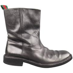 Men's GUCCI Size 11 Black Leather Striped Webbing Tab Biker Boots