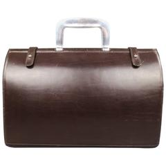 VIntage BILL AMBERG Brown Leather Silver Metal Handle Doctor's Bag Briefcase