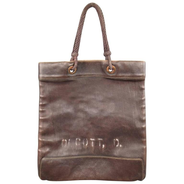 RRL by RALPH LAUREN Brown Printed Leather Rope Handle Tote