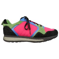 Men's GUCCI Size 10 Neon Pink Green Blue & Black Nylon & Suede Trainer Sneakers
