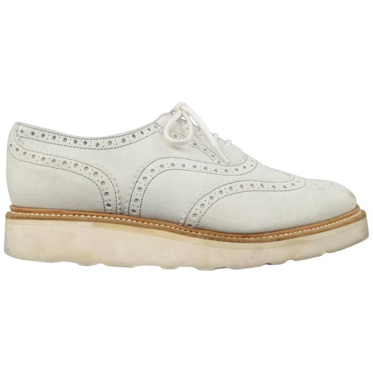 Men's HERITAGE RESEARCH Size 9 Off White Suede Lace Up Platform Brogues