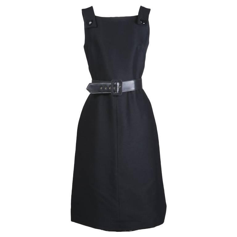 Balmain Belted Little Black Dress circa 1960s 1