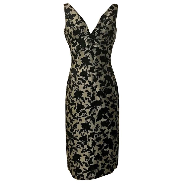 Alexander McQueen Grey and Black Floral Brocade Wiggle Pencil Dress, 2006