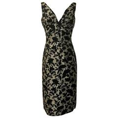 Alexander McQueen Grey and Black Floral Brocade Wiggle Pencil Dress, 2006