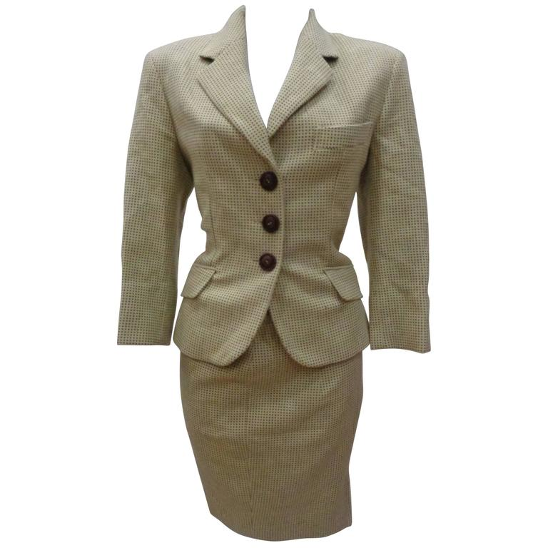 Moschino Couture Beije Wool Skirt Suit